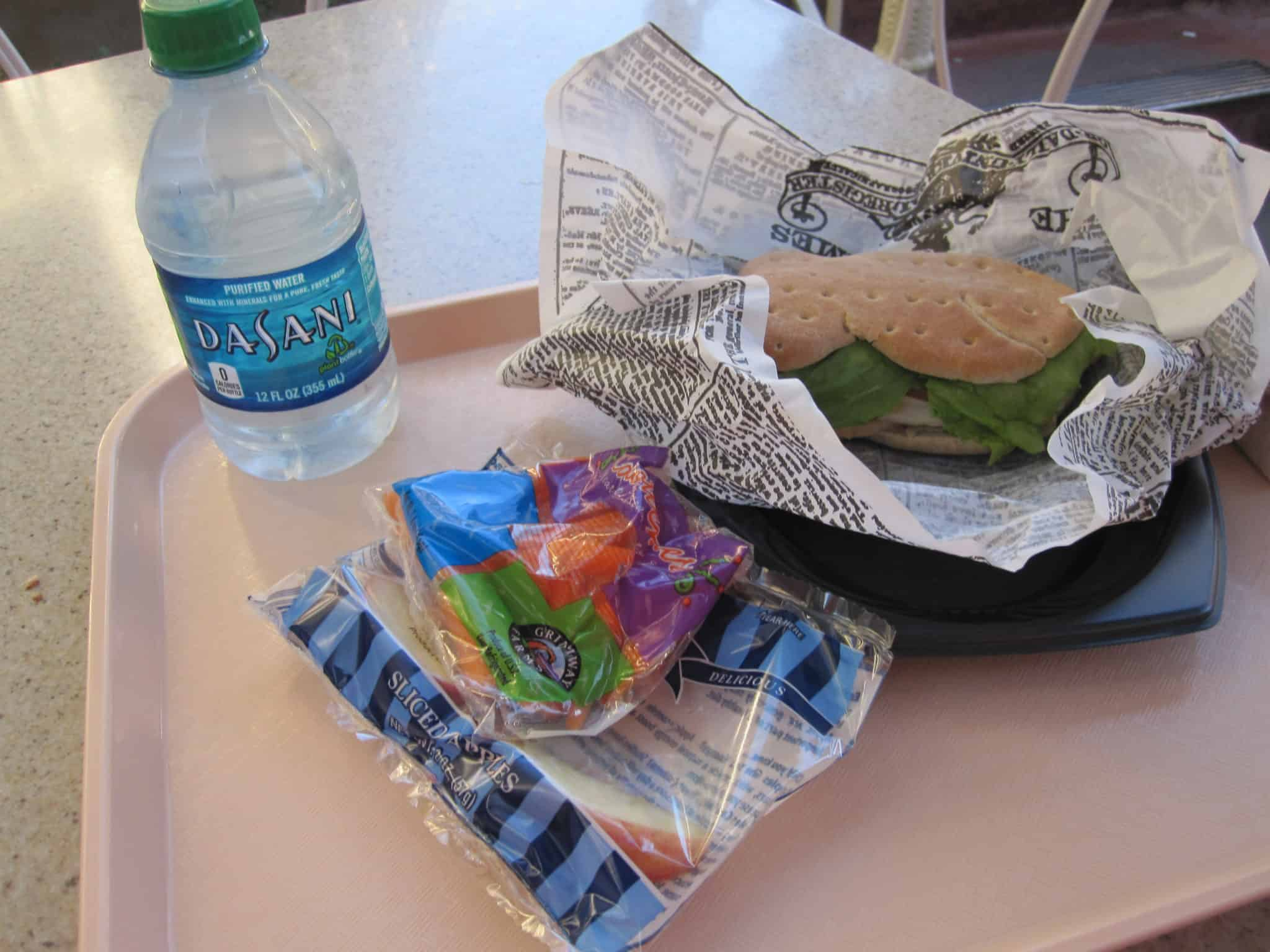 Healthy Disneyland Dining Guide. Kids' Mickey Check Meal from Jolly Holiday Bakery Cafe. 600 calories or less.