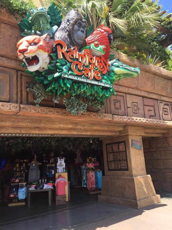 Downtown Disney Dining at the Rainforest Cafe.