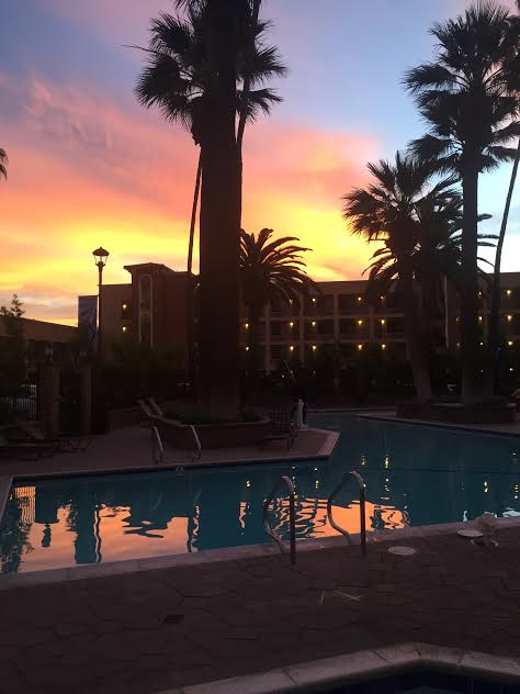 Sunrise over the pool at Grand Legacy At The Park. A Disneyland area hotel.