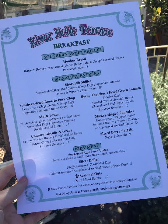 River Belle breakfast menu Disneyland