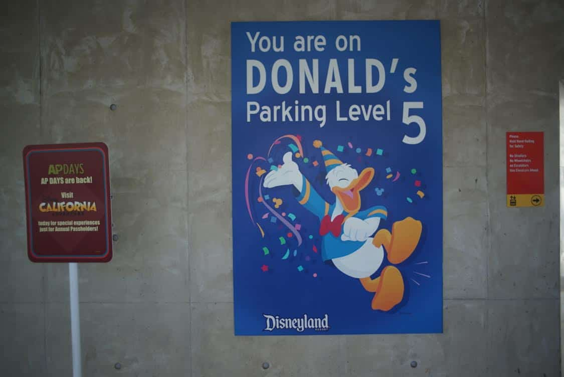 Disneyland parking garage sign with Donald Duck, parking level 5.