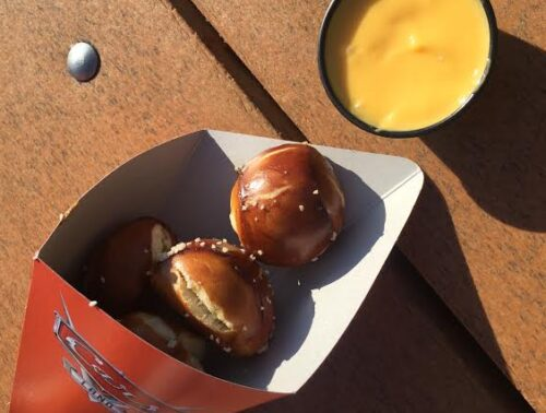 Pretzel Bites with cheese dipping sauce in Cars Land.