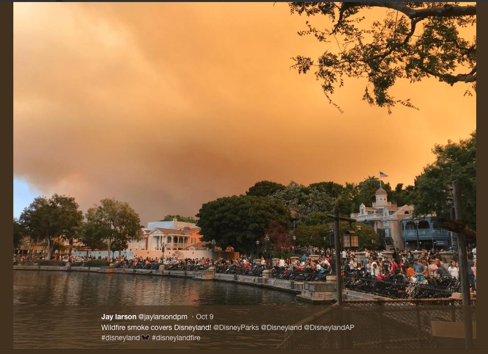 Screenshot of Jay Larson's photo Disneyland Fire.