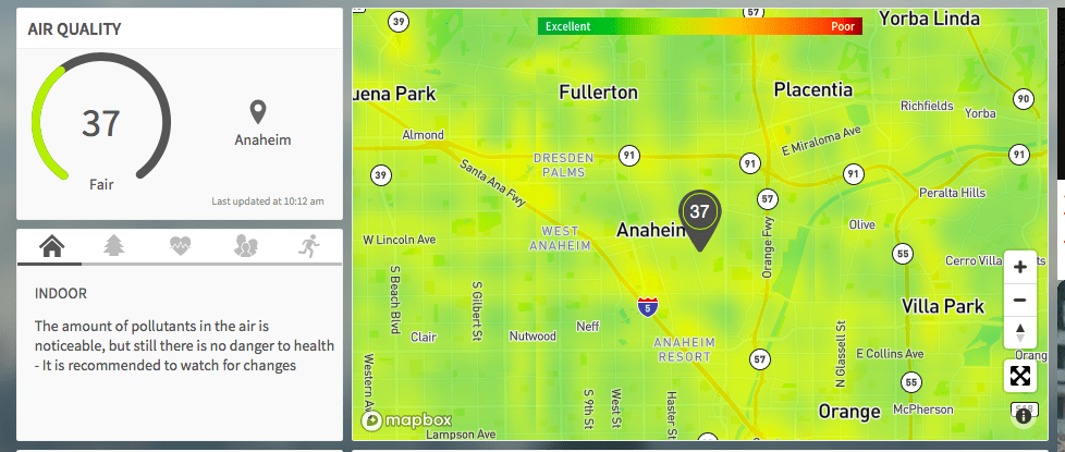 Anaheim Disneyland air quality