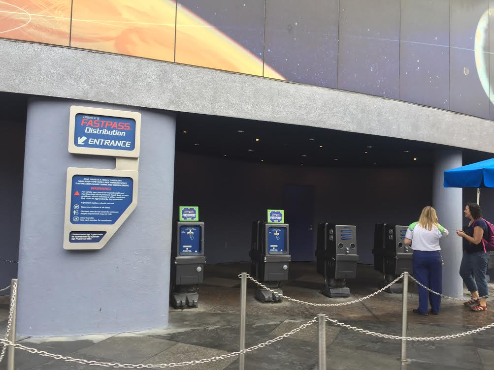 Star Tours FASTPASS distribution kiosk at Disneyland Park.