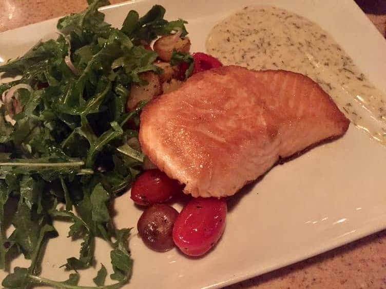 Salmon with green salad and potatoes at California Adventure.