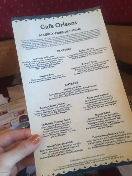 Disneyland gluten free menu