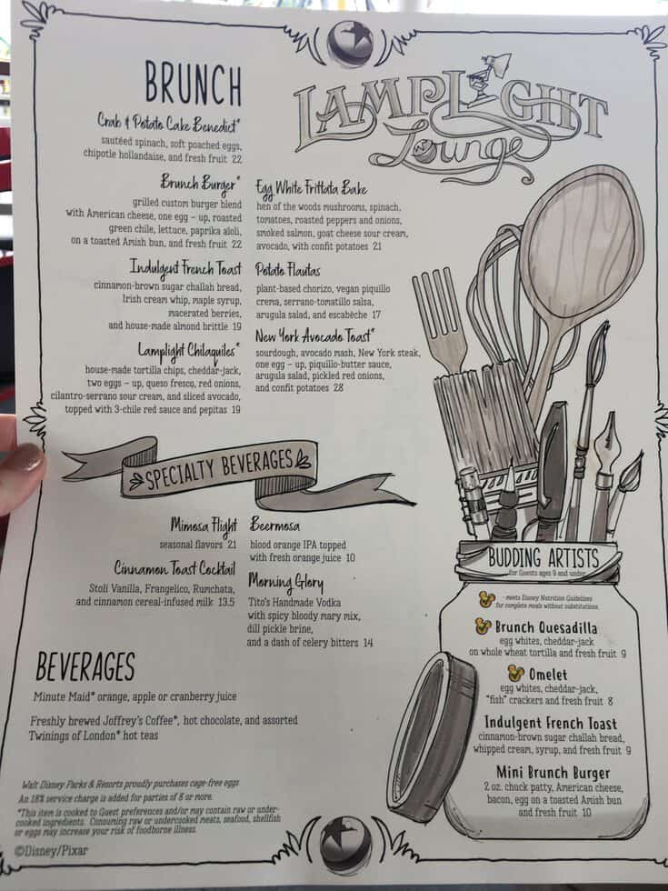 Lamplight Lounge Brunch Menu