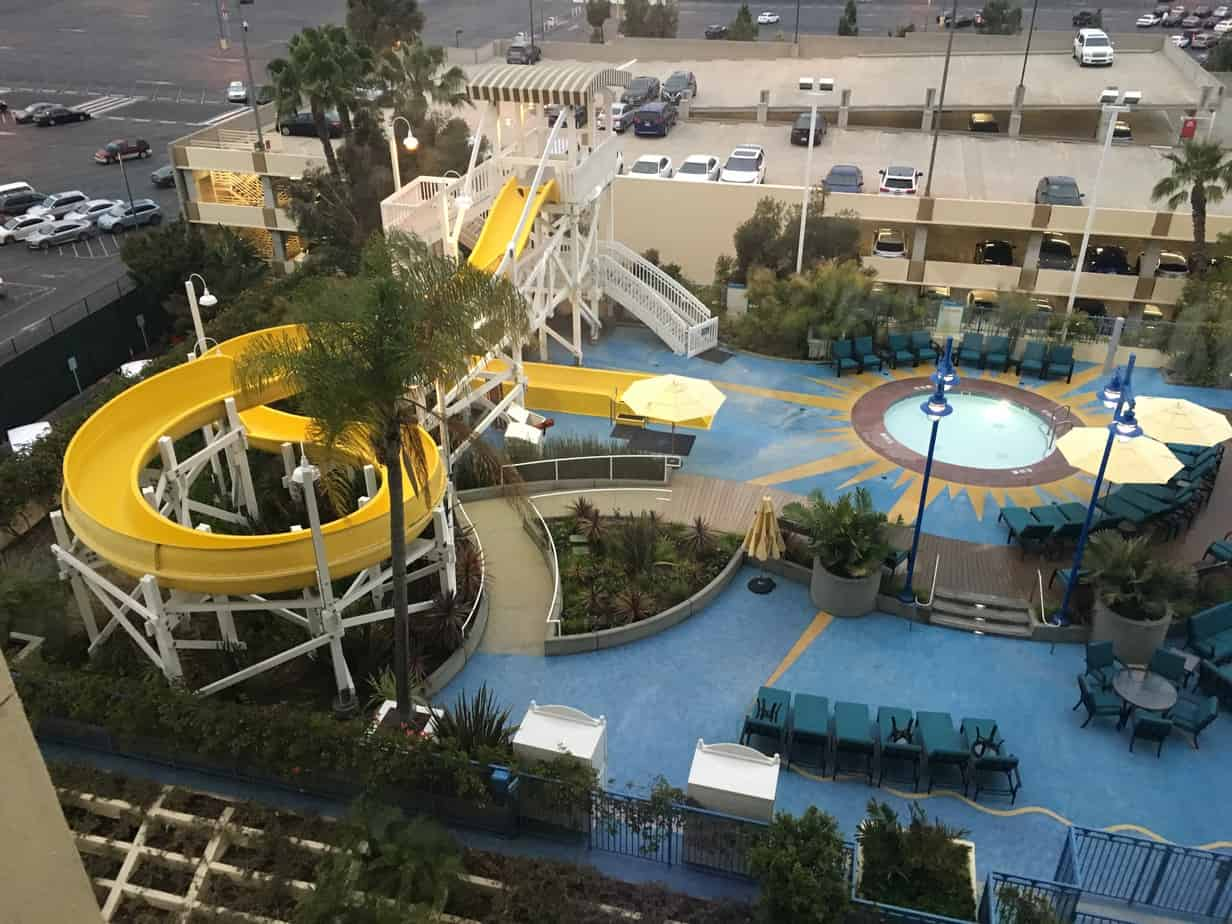 Paradise Pier hotel pool water slide