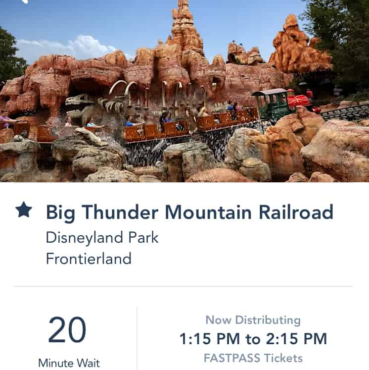 Disneyland app FASTPASS time