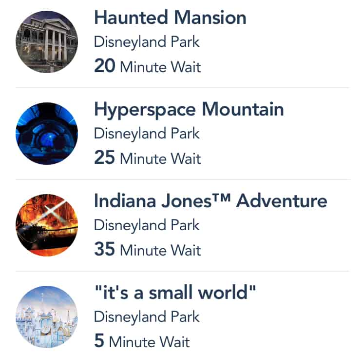 Disneyland app wait time list