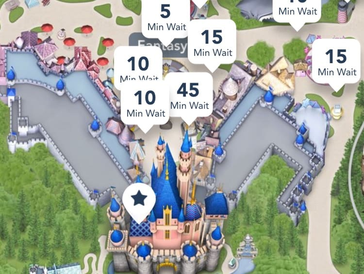 Disneyland app wait time map
