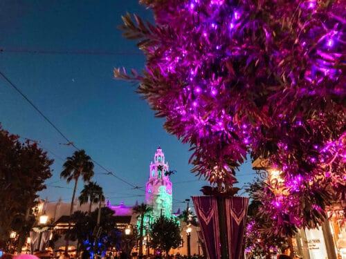 Buena Vista Street Halloween purple lights