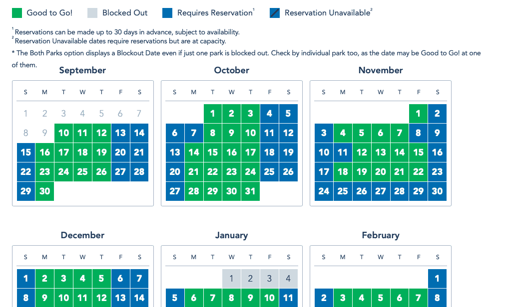 Disneyland FlexPass Calendar