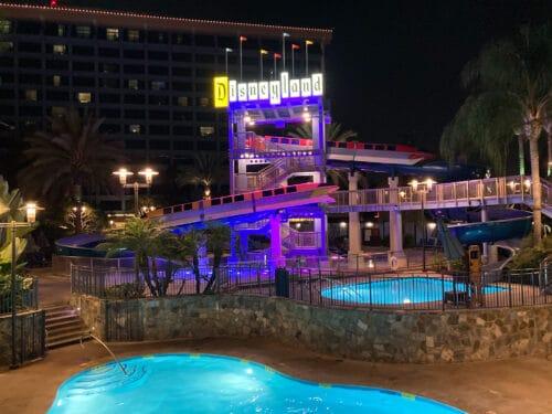 Disneyland Hotel Pool Night