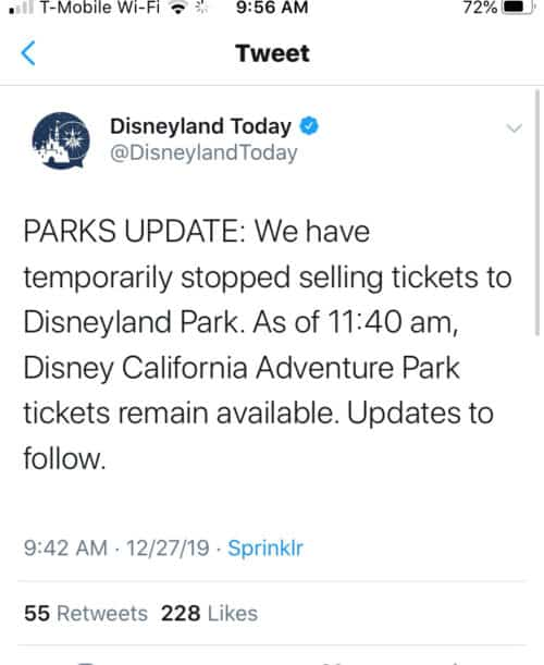 Disneyland sold out