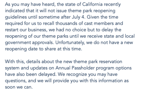 Disneyland delays reservation system