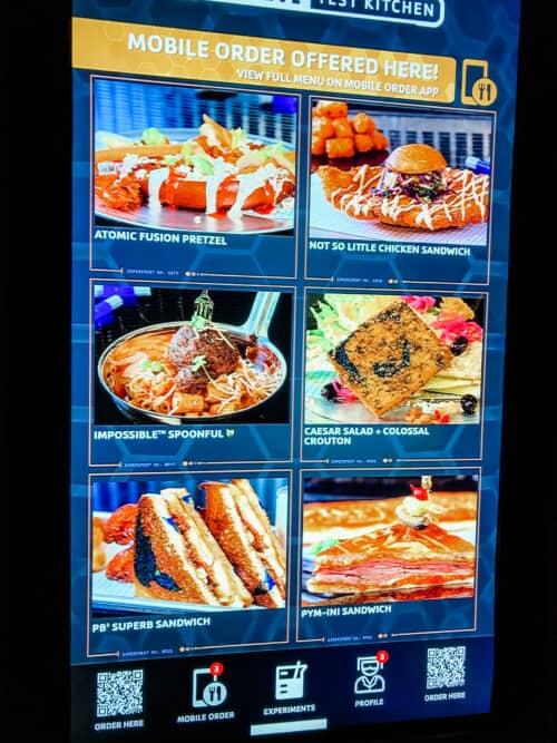 PYM test kitchen menu