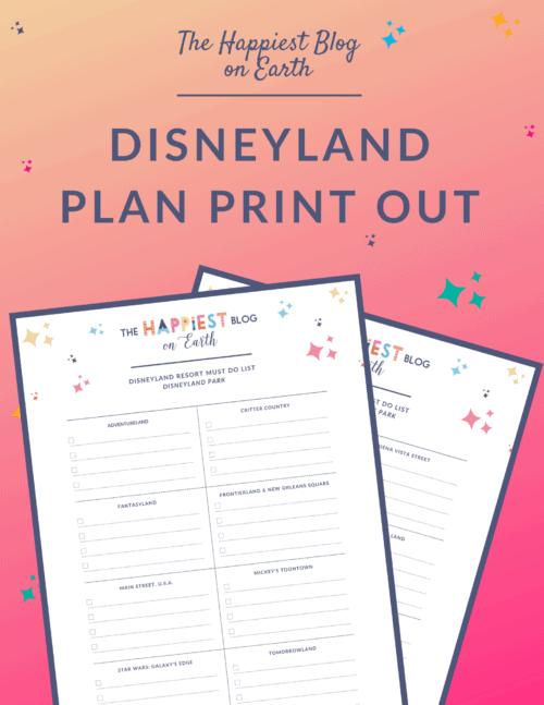 Disneyland Plan Print Out